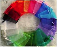 achat en gros de cadeau jewlery-OMH en gros 100pcs 12x10cm Blanc 25color chinois Noël Sac à main voile de mariage Sacs en organza Sac à provisions Jewlery