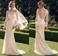 Cheap charming ivory Off Shoulder long sleeve mermaid lace long wedding dress buttons back berta bridal dresses 2014 xx278