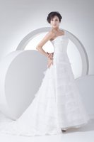 big levels - Simple Strapless With Hand Made Flowers Many Level Ruffles New Design Wedding Gowns Unique For Your Big Day