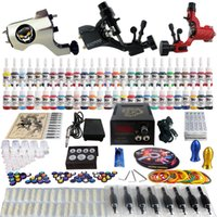 Wholesale Complete Tattoo Kit Pro Machine Guns Inks Power Supply Needle GripsTK355
