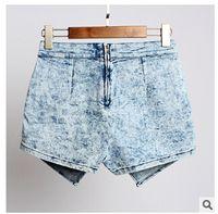 acid wash denim skirt - Women s Europe And America Fashion Ladies New Denim Jean Skorts Shorts Skirts Acid Wash Jeans Denim Faded Hot Shorts