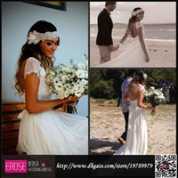 Cheap 2015 Fashion Bohemian Style Beach Wedding Dresses Short Sleeves Court Train Chiffon Boho Vintage Lace Backless Bridal Wedding Gowns