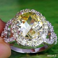 yellow topaz ring - Rings China Yellow Oval Cut Morganite White Topaz Gems K Platinum Plated Ring Size Ladies Finger Rings