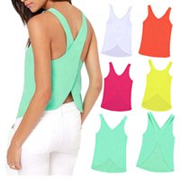 Wholesale Back to top spring and summer women sexy criss cross chiffon sleeveless shirt plus size cropped tank tops women s T shirt XXXL Y52 E1