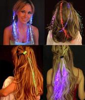 Wholesale Colorful Flash Hair Braids LED Luminous Hearwear Headdress Fiber Wig Dance Bar Props Light Up Fiber Optic Hair Pigtail Christmas Gift