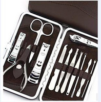 Wholesale 12 in set Nail Tools Mini Manicure Kit Stainless Steel Toe Nail Cutter Professional Cuticle Nipper