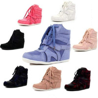 Wholesale Fashion Velcro Hook Lace Up Hidden Wedge High Heel Sneakers Trainers Ankle Boots US Womens Ladies Shoes