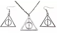 Wholesale Vintage Silver Harry Potter DEATHLY HALLOWS Charms Choker Necklace Earrings Jewelry Sets For Women Dress Brand DIY Jewelry S95