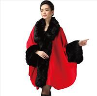 cape coat plus size - women jacket coat plus size wool blends women winter woolen coats mink loose cape poncho cloak warm Fur Faux Fur manteau coat