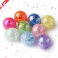 acrylic beads - Newest Shiny AB Effect Mixed or Colors Acrylic Crackle Beads Chunky Bubblegum Beads For DIY Necklace Making mm