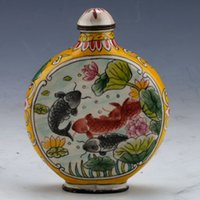 Wholesale Chinese Cloisonne Hand painted Fish Snuff Bottle w Qianlong Mark