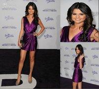 Wholesale Selena Gomez Short Purple Mini Dress Cocktail Celebrity Dress Never Say Never Premiere Prom Dress Evening Dresses