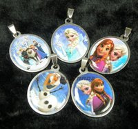 baby girl keepsakes - freeship Frozen Girls Elsa Anna Stainless Steel Necklaces Pendant Baby kids Olaf keepsakes accessories gift Styles Mixed J101001