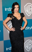 Wholesale Kim Kardashian Mermaid Black Lace Evening Dress Cap Sleeve V Neck Golden Globes Party Gown