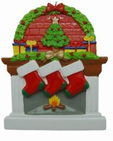 personalized ornaments - Personalized Fireplace Stockings Family Ornaments of Members Polyresin Wreath Christmas Gifts