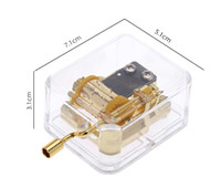 music box movements - New Arrival Unique Musical Box Acrylic Hand Crank Music Box Golden Movement Melody Castle in the Sky Creative Gift Artware