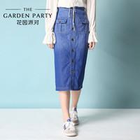 2016 nueva fiesta en el jardín de primavera en la parte larga de la moda coreana todo-fósforo suelta cintura femenina falda de mezclilla