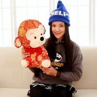 art mascots - New Style Chinese Year Zodiac Make A Fortune Monkey Red Mascot Plush Toys Baby Toys Cloth Art Doll New Year Christmas Gifts