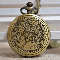 Wholesale Bronze Vine Circle Pattern Men Women Quartz Pocket Watch Arabic Numerals Dial Necklace Chain Watch Gift Regarder P063