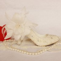 Wedding best flower buds - 2015 sweet white flower bud silk high heeled shoes pearl wedding shoes bridal shoes best selling