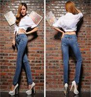 blue jeans - 2015 Fahion High Waist Women Jeans Female Slim Casual Skinny Plus Size Blue Denim Pants Trousers Woman Clothing