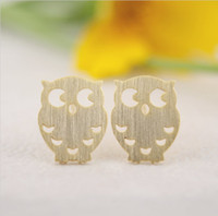 Wholesale 2016 Top Selling Gold silver rose gold copper Owl stud Earrings tiny small little hoot birds night owl stud EY E045