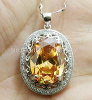 Wholesale Citrine necklace pendant Natural real citrine sterling silver For men or women pendants Fine jewelry DH