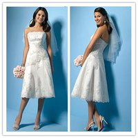 Cheap Knee length wedding dresses 2015 Fashion Dress A Line Wedding Dress Ruffles Lace And Stretch Satin Summer Beach Wedding Gowns