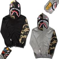 brand men hoodies jackets - Fashion brand mens Clothing BAPE shark Hoodies lovers hoody Sweatshirts jacket Autumn and Winter Black Gray Fleece hoody XY277