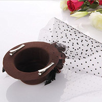 Wholesale FS Hot Feather Organza Mini Brown Top Hat Alligator Clip Fascinator order lt no track