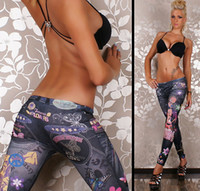 Wholesale New Women Sexy Tattoo Jean Look Legging Sport Leggins Punk Fitness American Apparel Jeans Woman Pants
