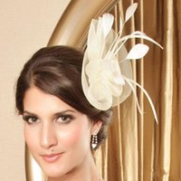 church hats fashion - Cheap Church Hats Fashion Ivory Feather Bridal Veil Wedding Hats Fishnet Tulle Wedding Veils Party Small Hat Hair Accessories Headpiece