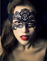 Wholesale New Fashion Sexy Lace Veil Halloween Masquerade Dance Mask Lace Face Mask Black Cutout Party Masks Black White Christmas Toy Drop Shipping