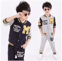 Wholesale New Autumn Kids Boys Clothing Sets Long Sleeve Letter M Baseball Tracksuits Jacket Pants Sport Suits Cotton