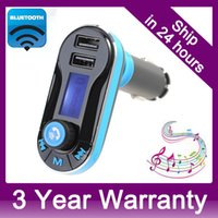 Wholesale Smartphone Bluetooth MP3 Player Handsfree Car Kit Dual USB Charger FM Transmitter Handsfree with Micro SD TF Card Reader