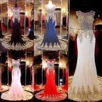 sexy ball gowns - Cheap In Stock Black Mermaid Evening Gowns Lace Appliques Sheer Party Formal Ball Gown Prom Dress Cheap Arabic Bridesmaid Gown