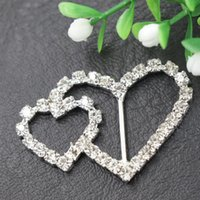 Silver double ribbon - 30pcs Elegant DIY Crystal Double Heart Rhinestone Buckle Wedding Invitation Ribbon Slider Party Banquet Supplies wa130