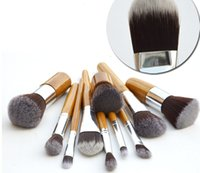 Wholesale 11 Professional High Quality Bamboo Makeup Brush Set Goat Hair Cosmetic Makeup Brushes Kit With Bag DHL sets
