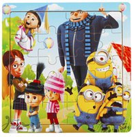 Wholesale 200pcs CCA2325 Creative Despicable Me McQueen Car Wooden Kids Jigsaw Puzzles Toys Animals Pattern For Children Inteligence Education Puzzle