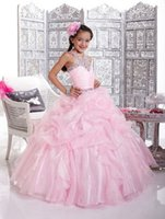 Wholesale Charming A line Halter Beaded Floor length Ruffles Junior Bridesmaid Dresses