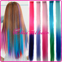 Wholesale Womens Girls Rainbow colors colorful Synthetic rainbow Grizzy Feather Hair Clip in Clip on Hair Extensions ombre hair extensions FP07