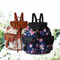 Wholesale 2016 Spring Canvas And Pu Bucket Backpack For Women