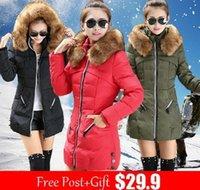Wholesale New jacket winter coat thicken Slim female raccoon fur collar and long coat women parka winter coat plus size XXL XL XL