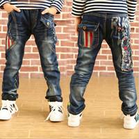 achat en gros de jean gros pour les enfants-2015 nouveaux automne des jeans vêtements pour enfants garçons vêtements pantalons pour enfants brodés gros et de détail denim livraison gratuite