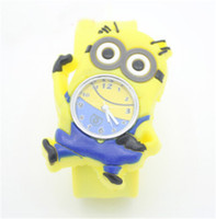 Wholesale DHL D Eye Despicable Me slap watch minion Precious Milk Dad Children Watches Slap Snap On Silicone Quartz Wrist Watch