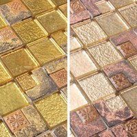 antique mosaic tile - Gold glass mosaic tile resin antique European luxury living room TV wall stickers golden puzzle