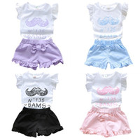 Wholesale 0 Y Baby Girl Cute Mustache Print Top Shorts Sets Outfit Summer Clothing