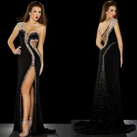 Wholesale Sexy Black Crystal Celebrity Evening Dresses One Shoulder Beaded Rhinestone Mermaid Prom Gowns with Slit Chiffon Sweep Train E2662