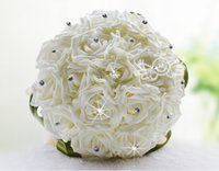 beaded flower bouquet - Hot selling Crystal Bridal Wedding Bouquet Hand Made Top Quality Artifical Pearl Beaded Silk Rose Flower Bridesmaid Bride Bridal Bouquets