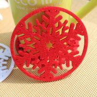 Wholesale 10pcs Christmas Decoration Coffee Cup Coaster Tea Mat pads Party Decoration
